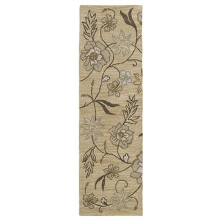 Hand-tufted Lawrence Wheat Floral Wool Rug (2'3 x 7'6)