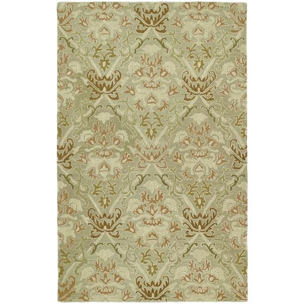 Hand-tufted Lawrence Khaki Green Damask Wool Rug - 9'6 x 13'