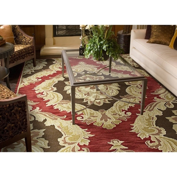 Lawrence Red Damask Hand-tufted Wool Rug - 8' x 11'