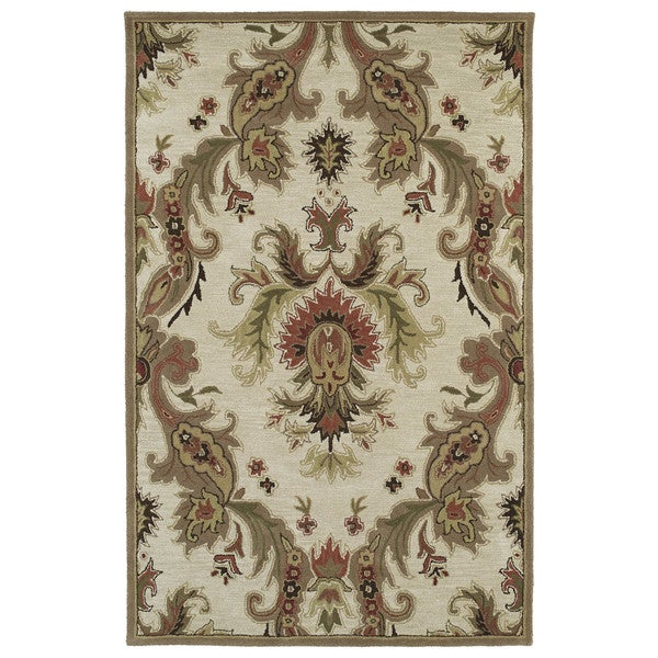 "Lawrence Multicolored Damask Hand-tufted Wool Rug - 9'6"" x 13'"