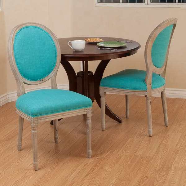 Shop Queen Anne Desk Chair Set Free Shipping Today >> Shop Queen Anne Teal Fabric Dining Chairs Set Of 2 By
