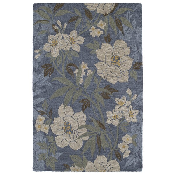 Lawrence Blue Floral Hand-tufted Wool Rug (5' x 7'9) - 5' x 7'9