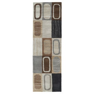 Lawrence Multicolored Dimensions Hand-tufted Wool Rug (2'3 x 7'6)