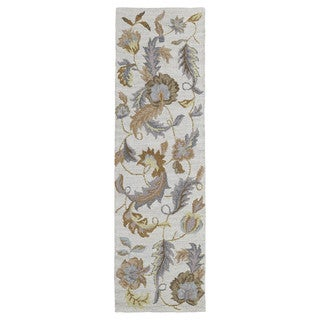 Lawrence Oatmeal Floral Hand-tufted Wool Rug (2'3 x 7'6)