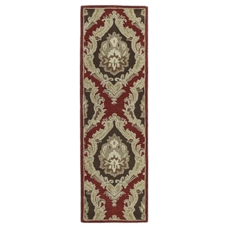 Lawrence Red Damask Hand-tufted Wool Rug (2'3 x 7'6)