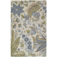 Lawrence Sandy Blue Floral Hand-tufted Wool Rug - 8' x 11'
