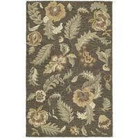 Lawrence Mocha Floral Hand-tufted Wool Rug (9'6 x 13')