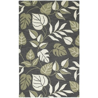 Lawrence Dark Grey Floral Hand-tufted Wool Rug (7'6 x 9')
