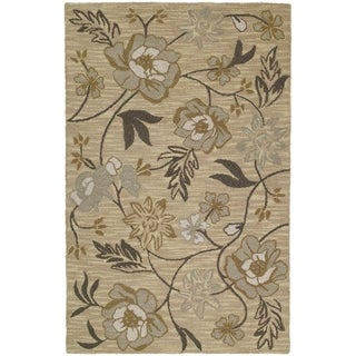 Lawrence Wheat Floral Hand-tufted Wool Rug (8' x 11') - 8' x 11'