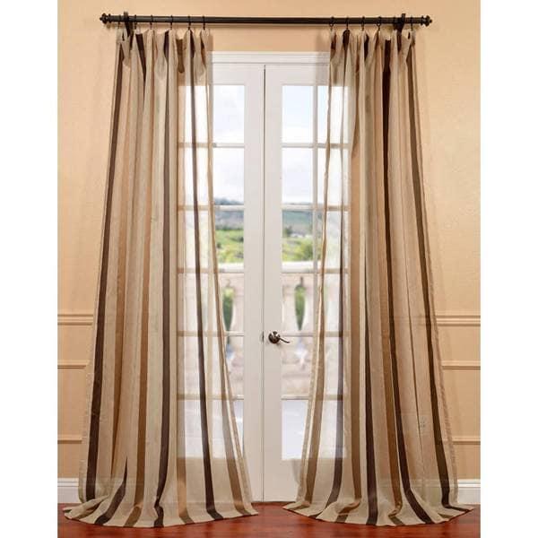 Exclusive Fabrics Carlton Taupe Linen Blend Stripe Sheer
