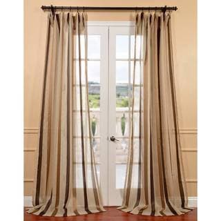 Exclusive Fabrics Carlton Taupe Linen Blend Stripe Sheer Curtain Panel