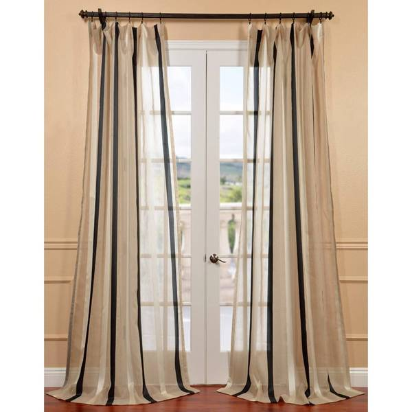 Linen Stripe Kitchen Curtains: Exclusive Fabrics Natural Linen Blend Stripe Sheer Curtain