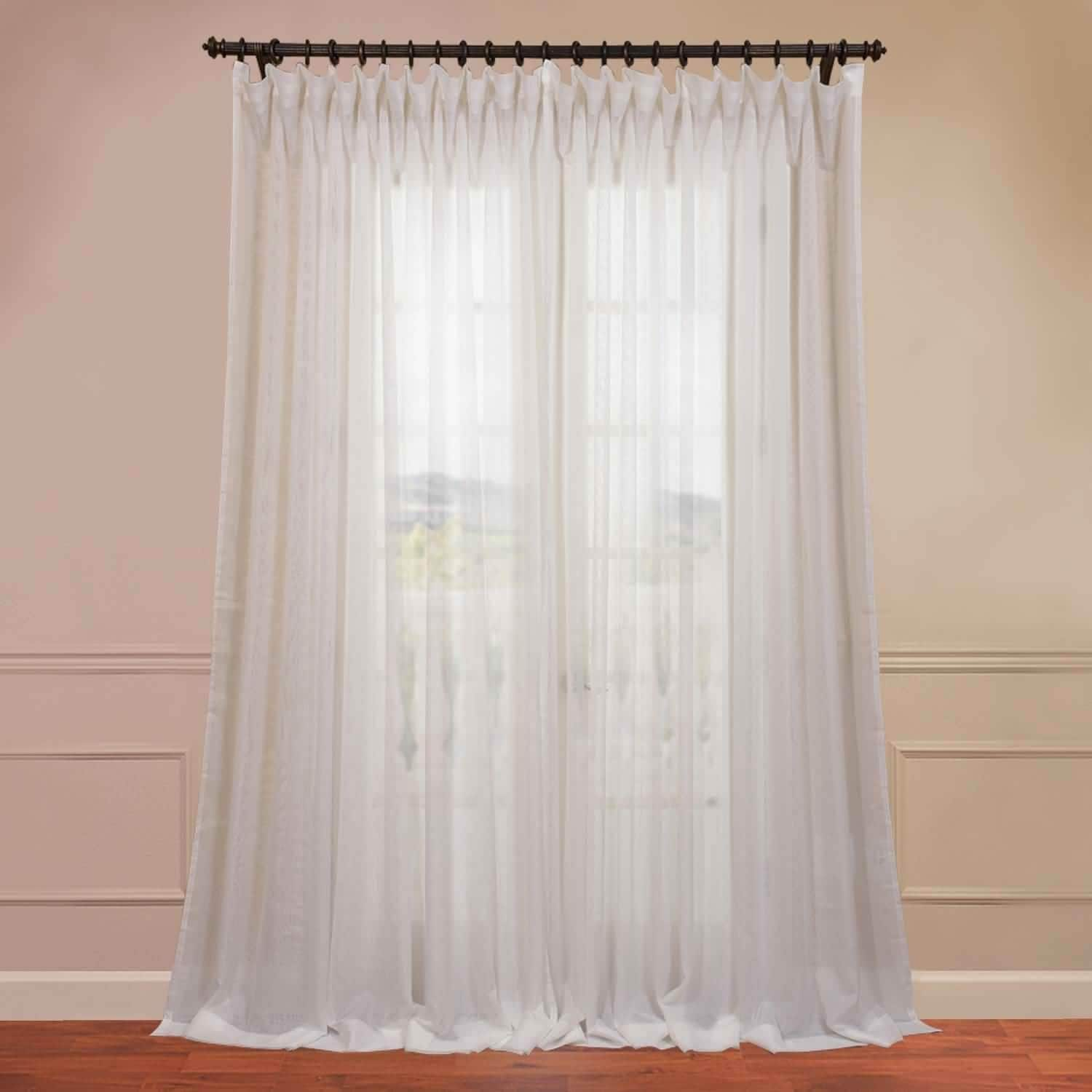 Exclusive Fabrics Signature f White Extra Wide Double Layer Sheer