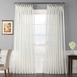 off white curtains living room. Exclusive Fabrics Signature Off White Extra Wide Double Layer Sheer Curtain  Panel Curtains For Less Overstock com