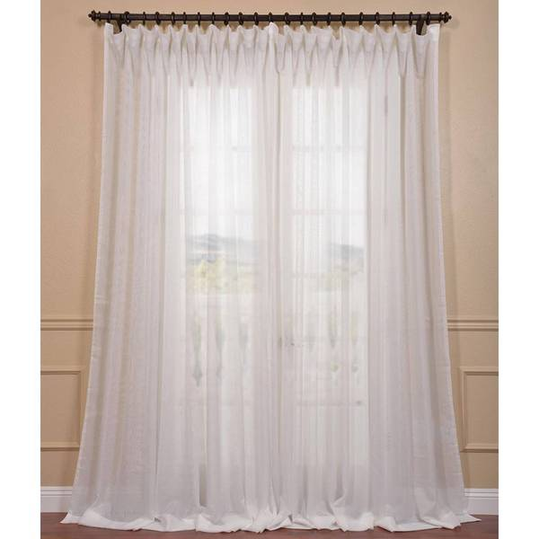 exclusive fabrics signature off white extra wide double layer sheer curtain panel free. Black Bedroom Furniture Sets. Home Design Ideas