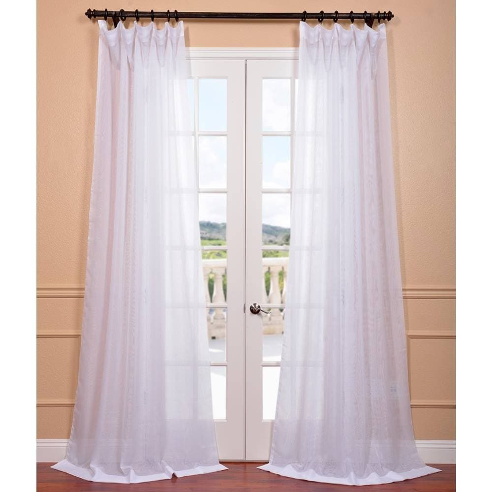 Exclusive Fabrics Signature White Double Layer Sheer Curt...