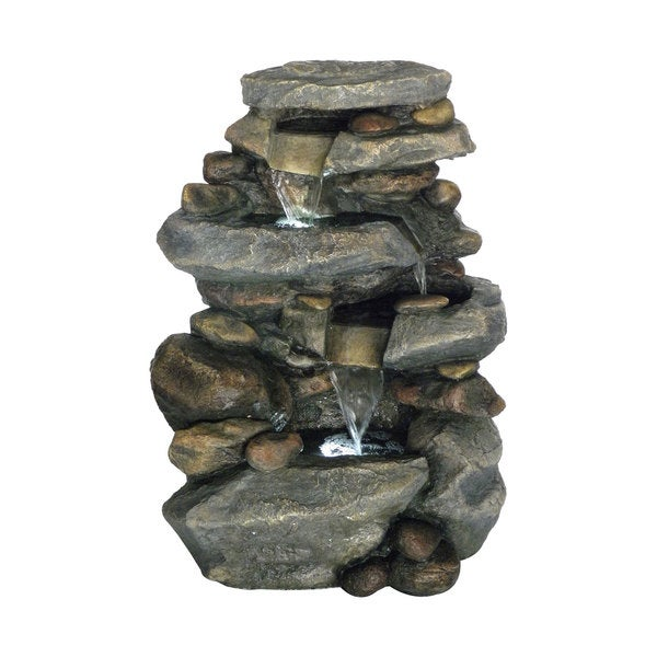 Pure Garden Stone 3 Level Led Light Waterfall Fountain Grey