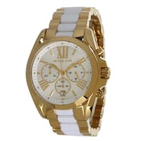 Michael Kors Women's MK5743 Gold-Tone White Chronograph Watch