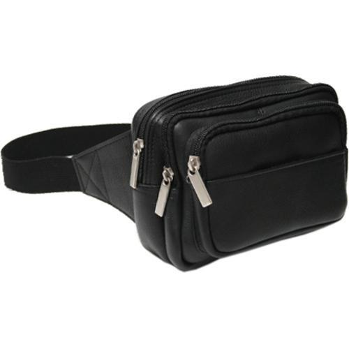 Women's Royce Leather Vaquetta Multi Compartment Fanny Pack Black