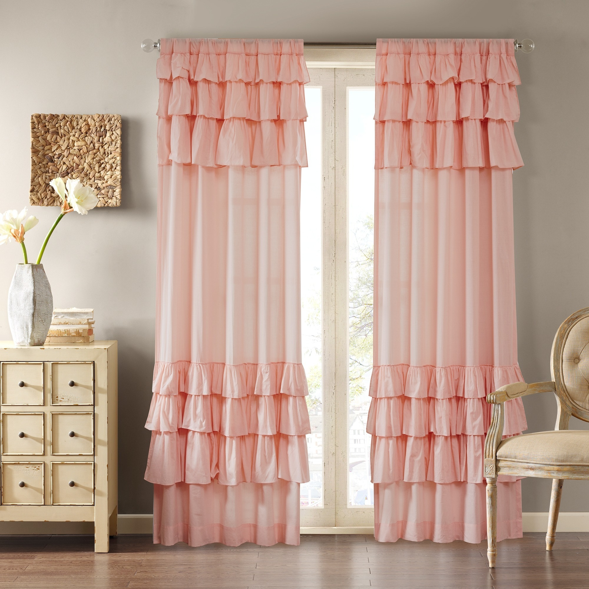 ruffle treatment voile curtain panel window ruffled panels sheer curtains gypsy pin