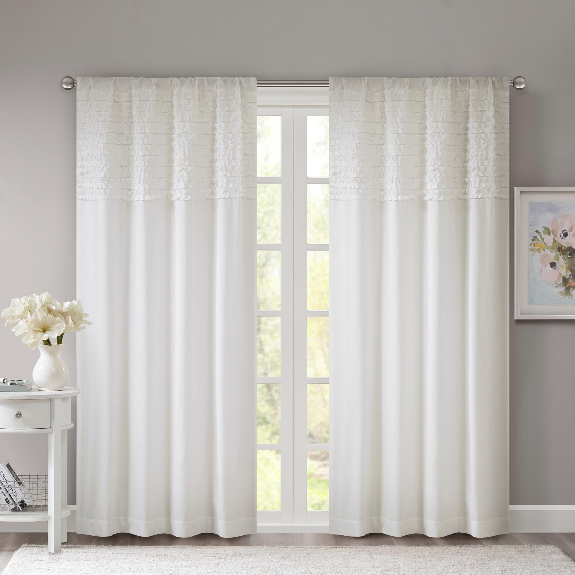 Madison Park Kylie Horizontal Ruffle Flippable Curtain Panel