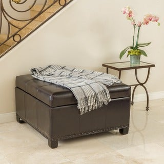 Shauna Espresso Leather Interior Tray Storage Ottoman by Christopher Knight Home