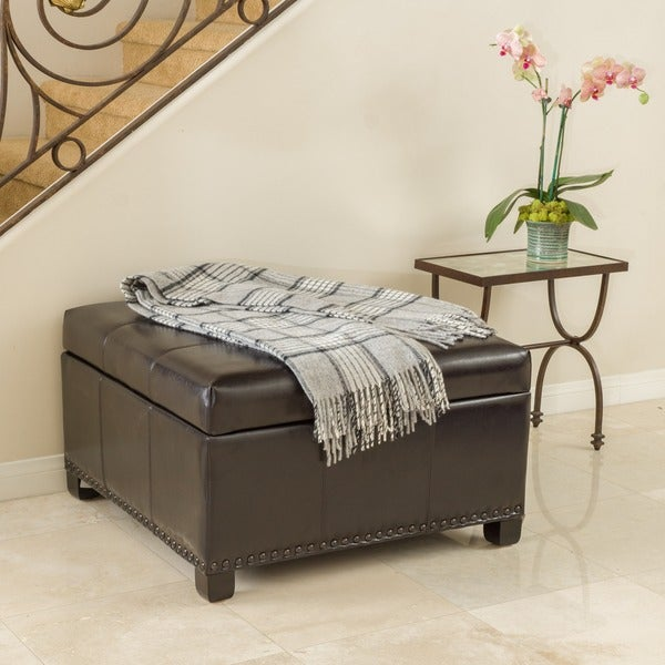 Shauna Espresso Leather Interior Tray Storage Ottoman by