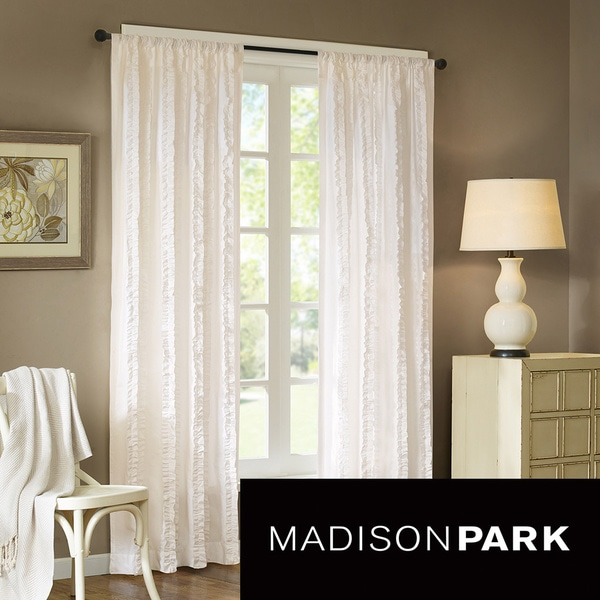 Madison Park Camila 84-Inch Vertical Ruffle Curtain Panel
