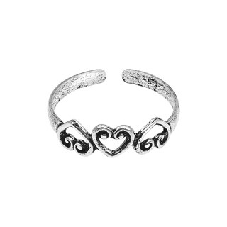 Handmade Triple Promise Open Heart .925 Silver Toe or Pinky Ring (Thailand)