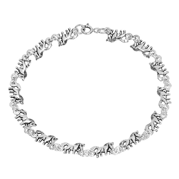 Handmade Mythical Beauty Prancing Unicorn Sterling Silver Bracelet (Thailand). Opens flyout.