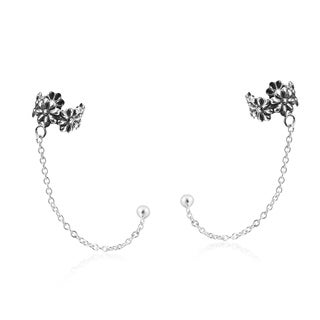 Handmade Sweet Floral Cuff Chain .925 Silver Post Earrings (Thailand)