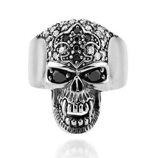 Handmade Fierce Skull Fleur de Lis Cubic Zirconia .925 Silver Ring (Thailand)