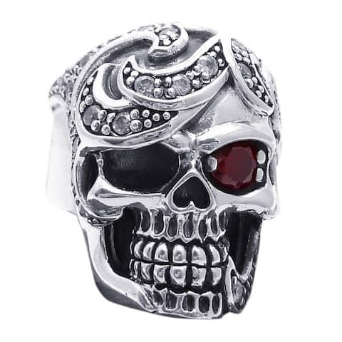 Handmade Red Eye Cubic Zirconia Skull Design .925 Silver Ring (Thailand)