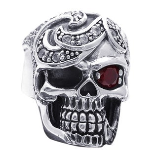 Handmade Red Eye Cubic Zirconia Skull Design .925 Silver Ring (Thailand)