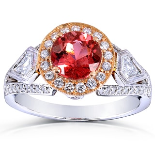 Annello 18k Two-Tone Gold Pink Tourmaline and 3/4 ct TDW Diamond Ring (G-H, VS1-VS2)