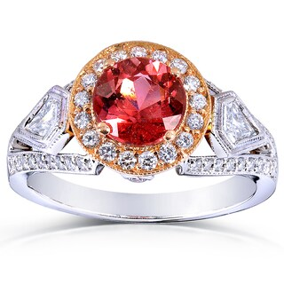 Annello by Kobelli 18k Two-Tone Gold Pink Tourmaline and 3/4 ct TDW Diamond Ring (G-H, VS