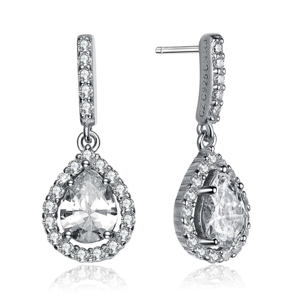 51b695c61c10 Collette Z Sterling Silver with Rhodium Plated Clear Pear with Round Cubic  Zirconia Halo Drop Earrings