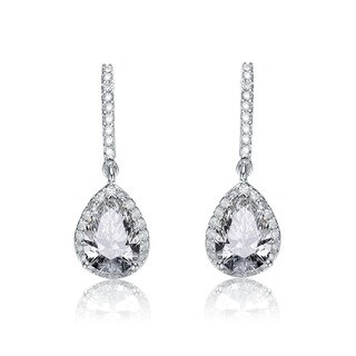 Collette Z Sterling Silver with Rhodium Plated Clear Pear with Round Cubic Zirconia Halo Drop Earrings