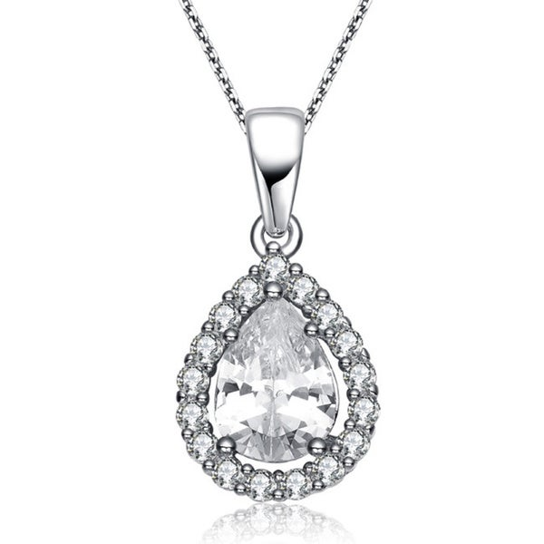 Collette Z Sterling Silver Cubic Zirconia Pear Drop Pendant Necklace