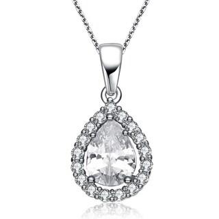 Collette Z Sterling Silver Cubic Zirconia Pear Drop Pendant Necklace