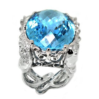 De Buman 14K White Gold Blue Topaz and 3/5ct TDW Diamond Ring (H-I, I1-I2)