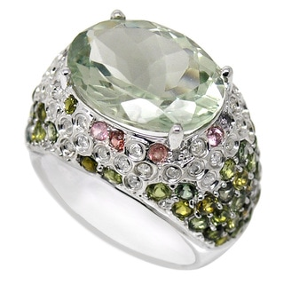 De Buman 9k White Gold Green Amethyst and 1/3ct TDW Diamond Ring (H-I, I1-I2) (Size 8.75)