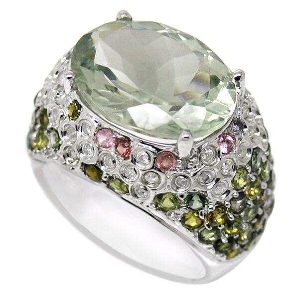De Buman 9k White Gold Green Amethyst and 1/3ct TDW Diamond Ring (H-I, I1-I2) (Size 8.75)