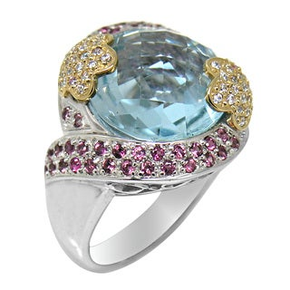 De Buman 14k Yellow Gold and Sterling Silver Blue Topaz with Cubic Zirconia Fashion Ring