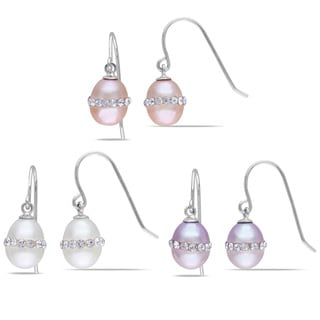 M by Miadora Sterling Silver Freshwater Pearl and Crystal Earrings (7-7.5 mm), (Set of 3)