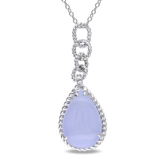 Miadora Sterling Silver 7ct TGW Blue Chalcedony Drop Necklace