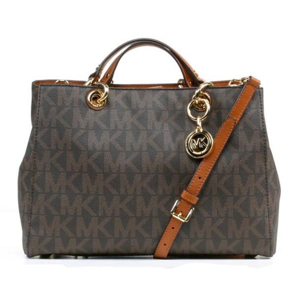 4efeb92ac4a9 Shop Michael Kors Cynthia Brown Signature Satchel Handbag - Free ...