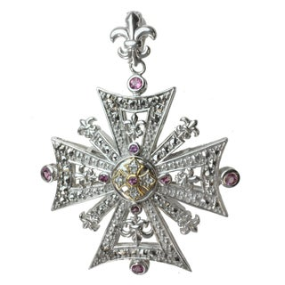 Dallas Prince Sterling Silver and Rhodolite, White Sapphire and Marcasite Enhancer Pendant