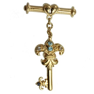 Dallas Prince Gold over Silver and Blue Zircon, White Sapphire and Blue Sapphire 'Key' Toggle Charm