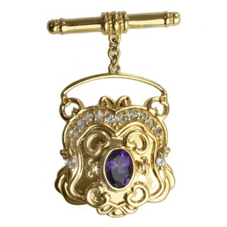 Dallas Prince Gold over Silver and Amethyst and White Topaz 'Purse' Toggle Charm